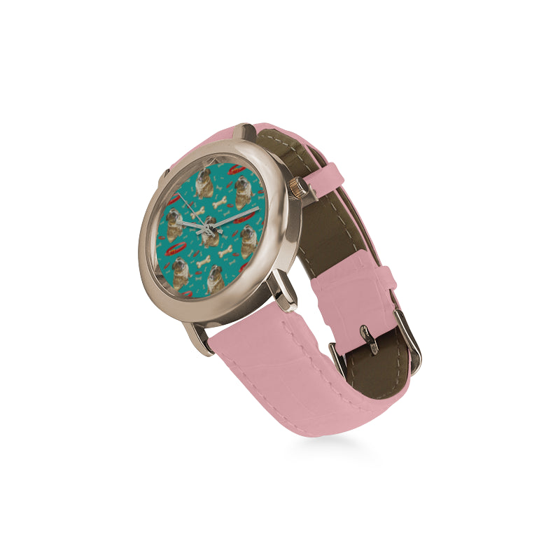 English Bulldog Water Colour Pattern No.1 Women's Rose Gold Leather Strap Watch - TeeAmazing