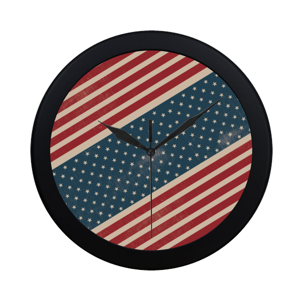 4th July V2 Black Circular Plastic Wall clock - TeeAmazing
