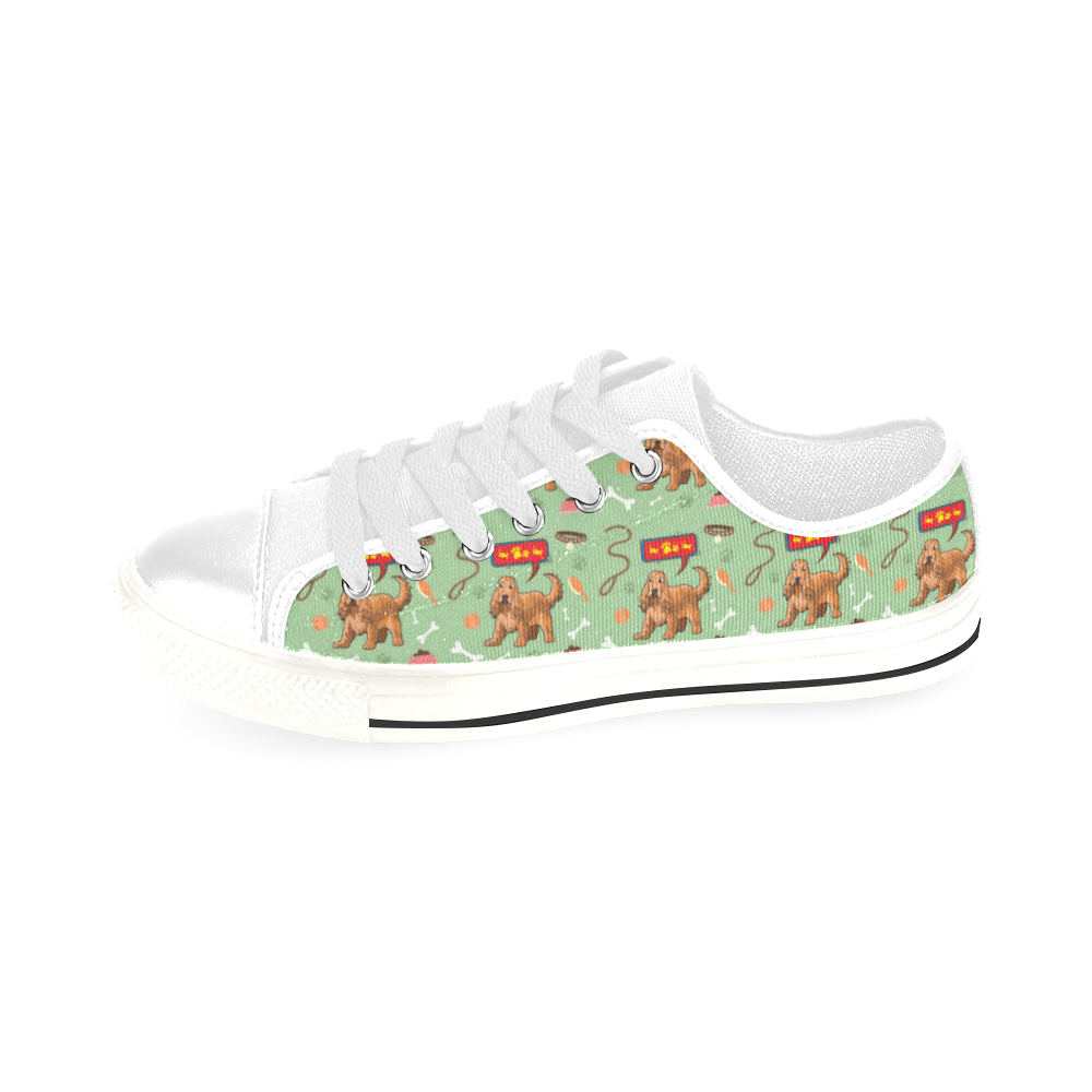 American Cocker Spaniel Pattern White Men's Classic Canvas Shoes/Large Size - TeeAmazing