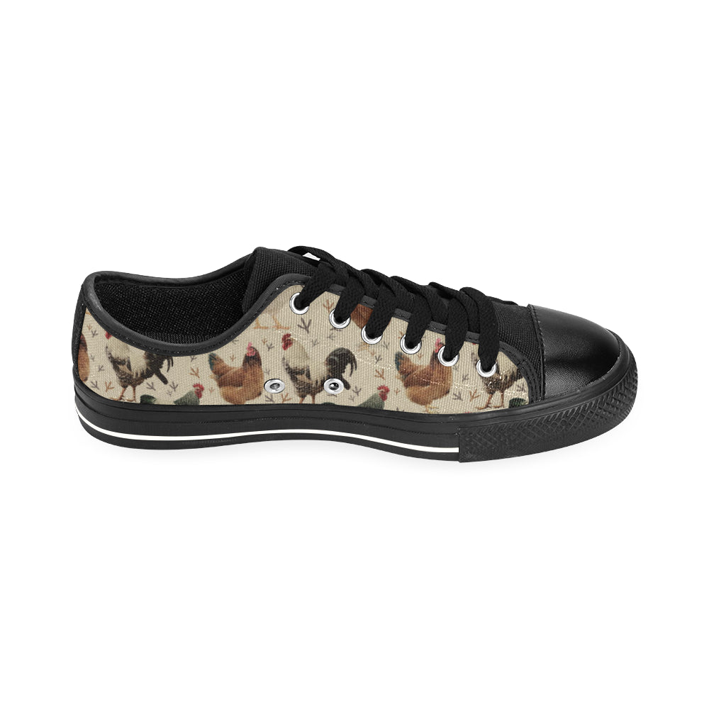 Chicken Black Men's Classic Canvas Shoes/Large Size - TeeAmazing