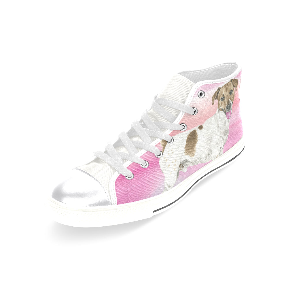 8d5074f7246 ... Jack Russell Terrier Water Colour No.1 White Women s Classic High Top  Canvas Shoes -