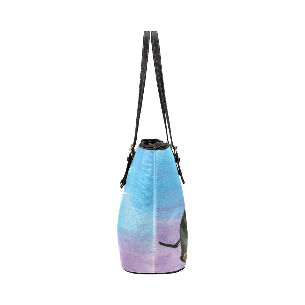 Dachshund Water Colour No.1 Leather Tote Bag/Small - TeeAmazing