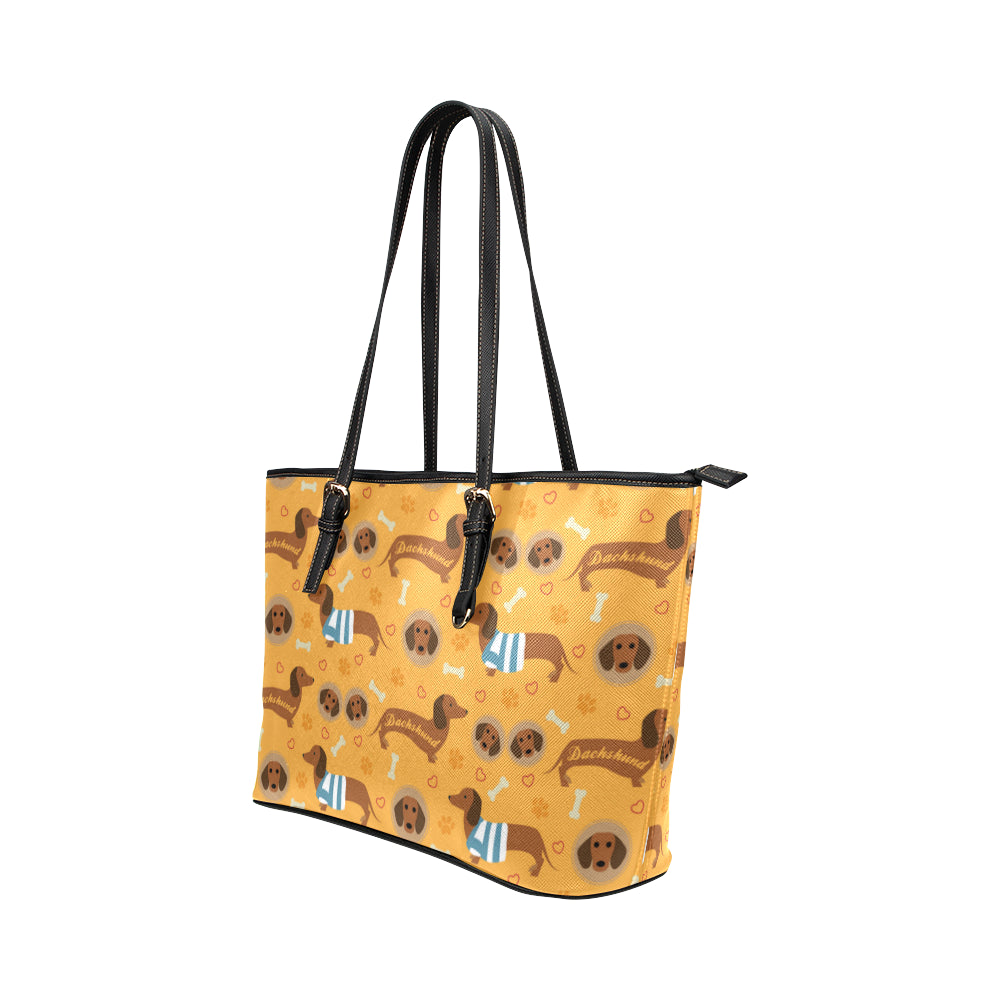 Dachshund Pattern Leather Tote Bag/Small - TeeAmazing