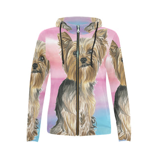 Yorkshire Terrier Water Colour No.2 All Over Print Full Zip Hoodie for Women (Model H14) - TeeAmazing