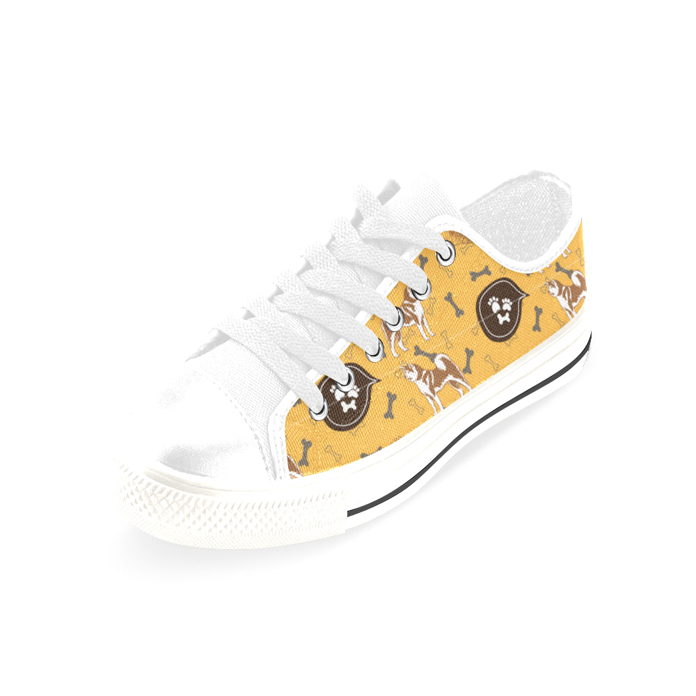 Akita Pattern White Men's Classic Canvas Shoes/Large Size - TeeAmazing