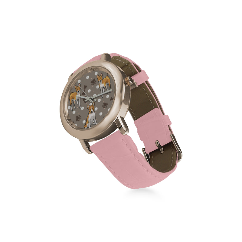 Basenji Women's Rose Gold Leather Strap Watch - TeeAmazing