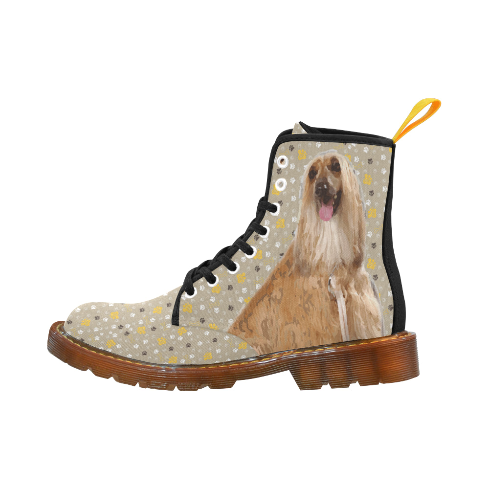 Afghan Hound Black Boots For Men - TeeAmazing