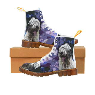 Old English Sheepdog White Martin Boots For Men Model 1203H - TeeAmazing