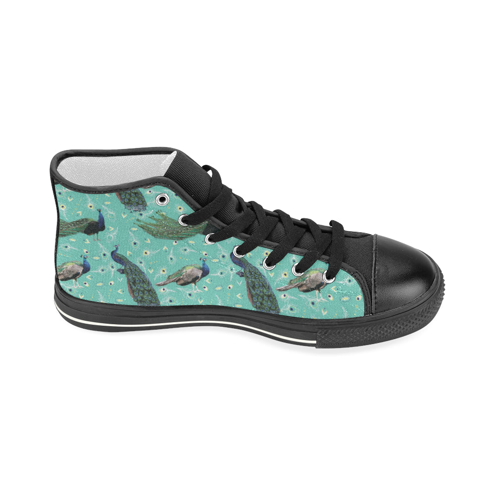 Peacock Black Women's Classic High Top Canvas Shoes - TeeAmazing