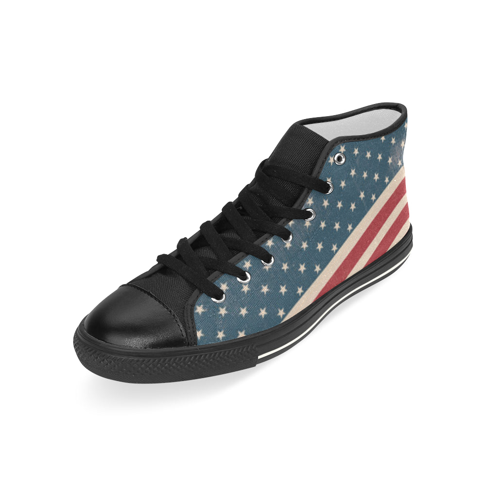 4th July V2 Black Men's Classic High Top Canvas Shoes - TeeAmazing