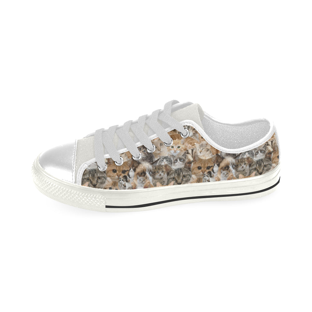 Cat White Low Top Canvas Shoes for Kid - TeeAmazing
