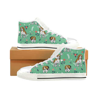 Beagle Flower White High Top Canvas Women's Shoes/Large Size (Model 017) - TeeAmazing