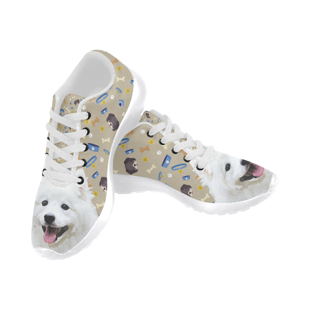 Samoyed Dog White Sneakers Size 13-15 for Men - TeeAmazing