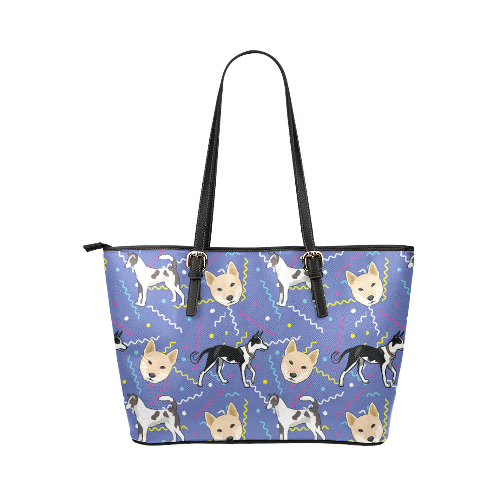 Canaan Dog Leather Tote Bag/Small - TeeAmazing