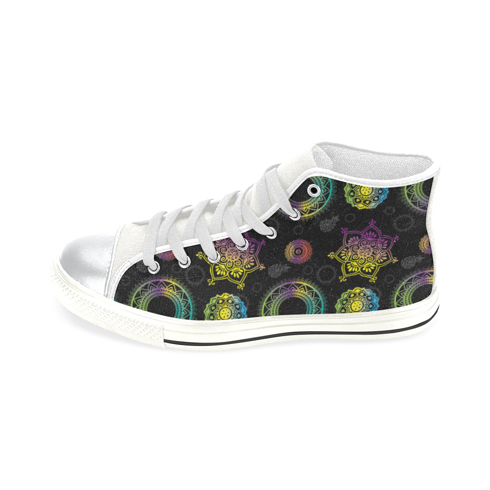 Chakra White High Top Canvas Shoes for Kid - TeeAmazing