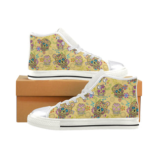 Sugar Skull White Women's Classic High Top Canvas Shoes (Model 017) - TeeAmazing