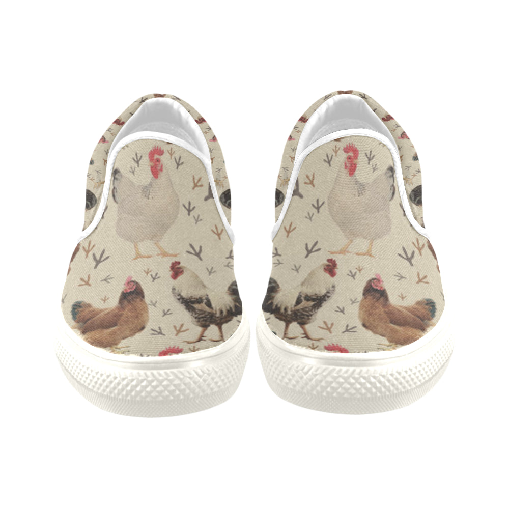 Chicken White Women's Slip-on Canvas Shoes/Large Size (Model 019) - TeeAmazing