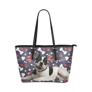 French Bulldog Dog Leather Tote Bag/Small (Model 1651) - TeeAmazing