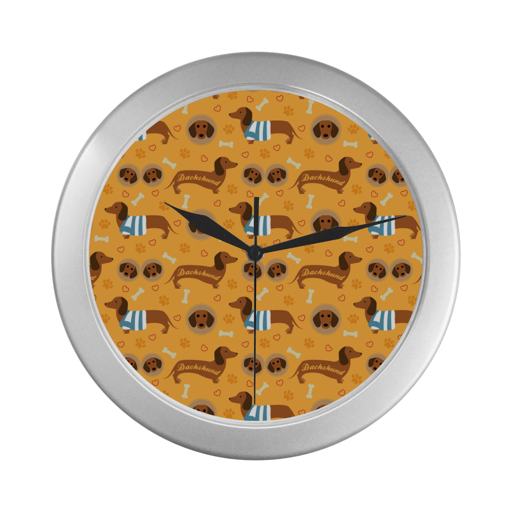 Dachshund Pattern Silver Color Wall Clock - TeeAmazing
