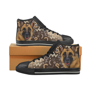 German Shepherd Lover Black High Top Canvas Shoes for Kid