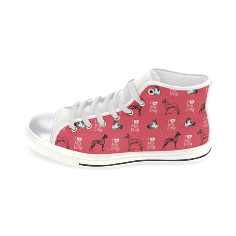 Great Dane Pattern White Women's Classic High Top Canvas Shoes - TeeAmazing