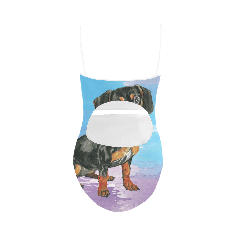 Dachshund Water Colour No.1 Strap Swimsuit - TeeAmazing
