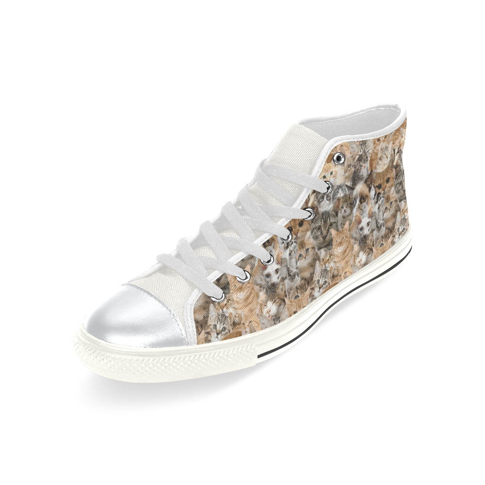 Cat White High Top Canvas Women's Shoes/Large Size - TeeAmazing