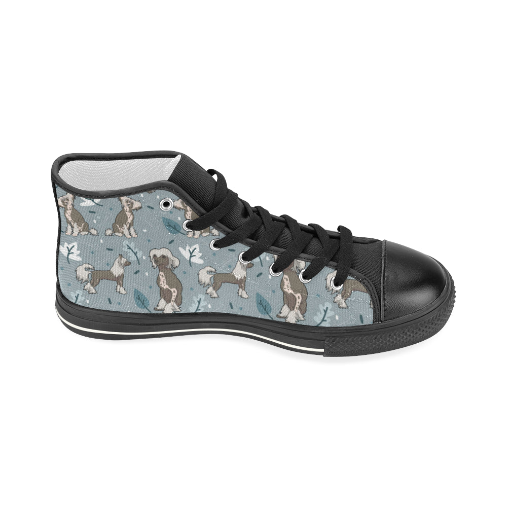 Chinese Crested Black Women's Classic High Top Canvas Shoes - TeeAmazing