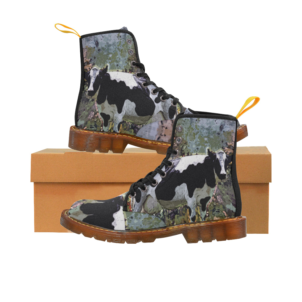 Cow Black Boots For Men - TeeAmazing