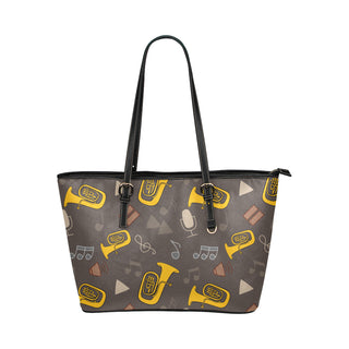 Tuba Pattern Leather Tote Bag/Small - TeeAmazing