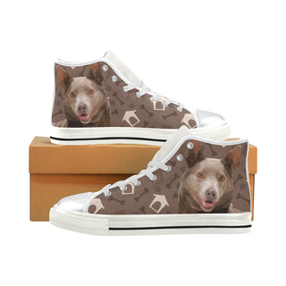 Australian Kelpie Dog White Women's Classic High Top Canvas Shoes (Model 017) - TeeAmazing