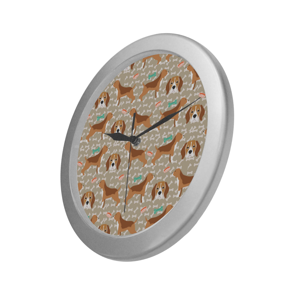 Beagle Pattern Silver Color Wall Clock - TeeAmazing