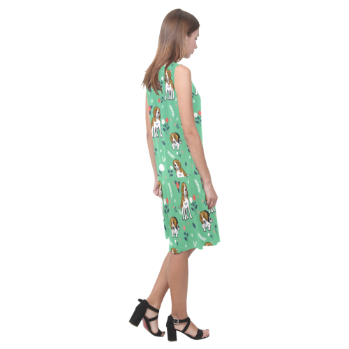 Beagle Flower Sleeveless Splicing Shift Dress - TeeAmazing