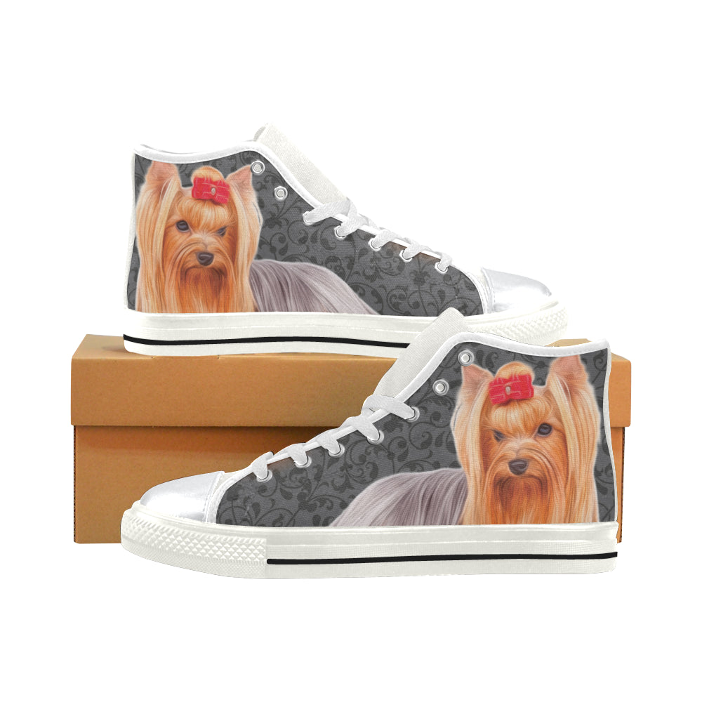 Yorkie Lover White High Top Canvas Womens Shoeslarge Size