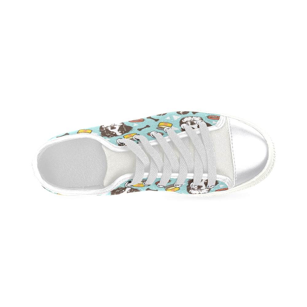 Bernese Mountain Pattern White Canvas Women's Shoes/Large Size - TeeAmazing