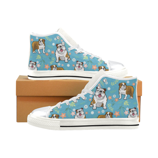English Bulldog Flower White High Top Canvas Women's Shoes/Large Size (Model 017) - TeeAmazing