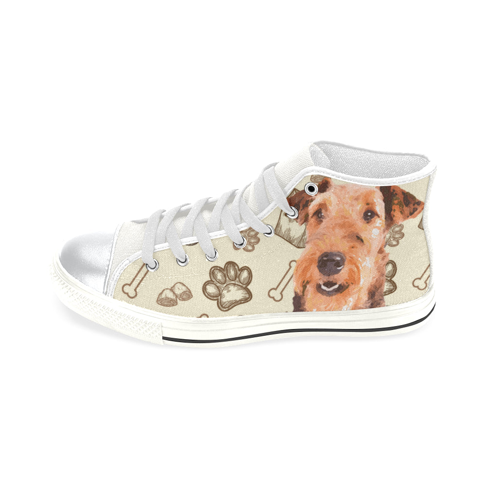 Airedale Terrier White High Top Canvas Women's Shoes/Large Size - TeeAmazing
