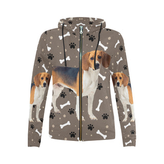 Beagle V3 All Over Print Full Zip Hoodie for Women (Model H14) - TeeAmazing
