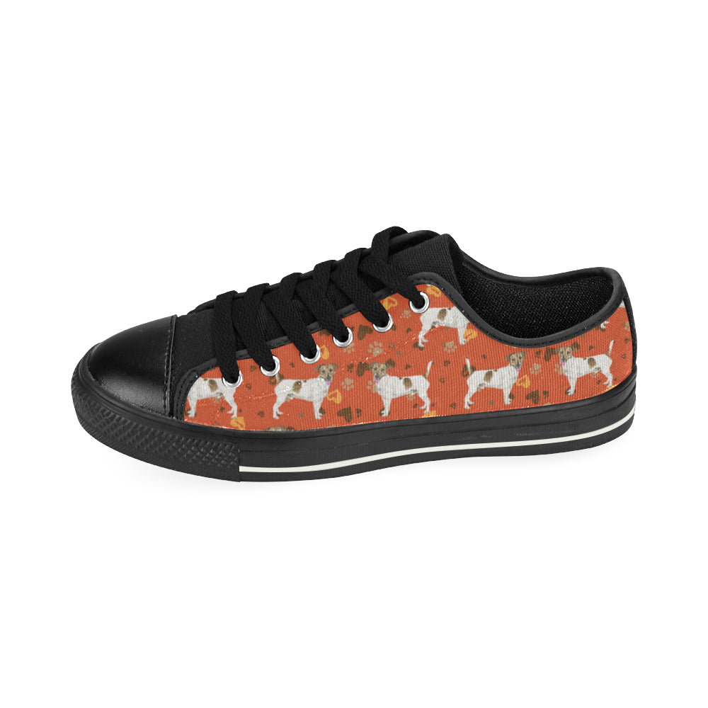 Jack Russell Terrier Water Colour Pattern No.1 Black Low Top Canvas Shoes for Kid - TeeAmazing