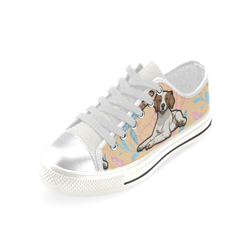 Brittany Spaniel Flower White Women's Classic Canvas Shoes - TeeAmazing