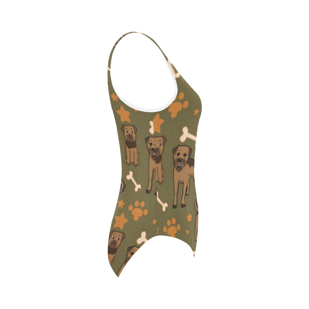 Border Terrier Pattern Vest One Piece Swimsuit - TeeAmazing