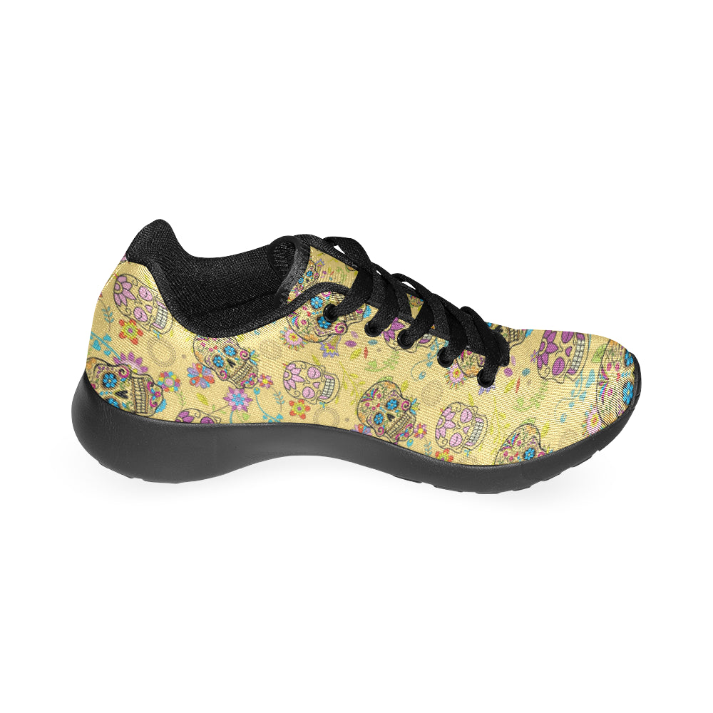 Sugar Skull Black Sneakers Size 13-15 for Men - TeeAmazing