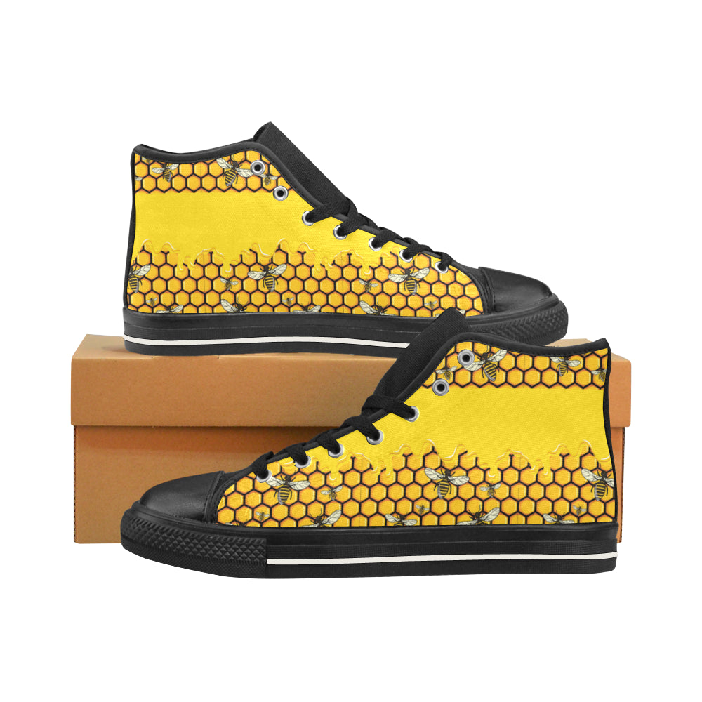 Bee Pattern Black Men's Classic High Top Canvas Shoes /Large Size - TeeAmazing