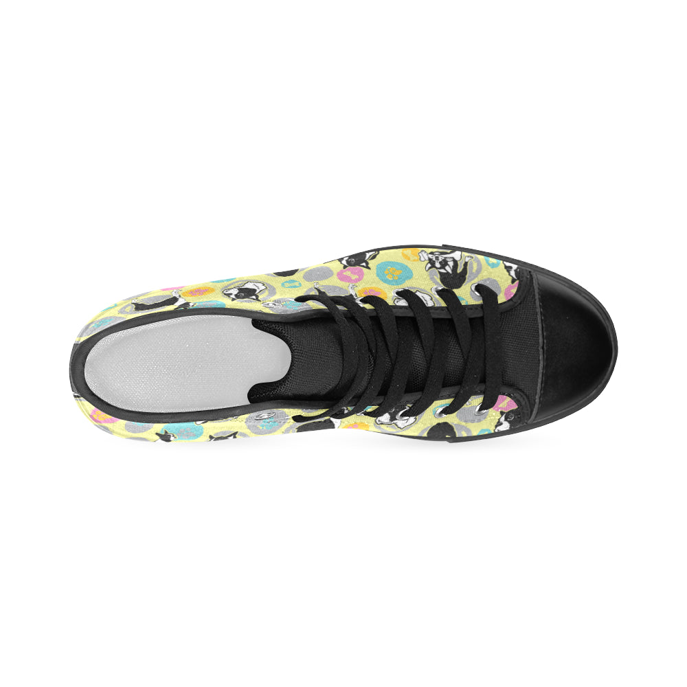 Boston Terrier Pattern Black Men's Classic High Top Canvas Shoes - TeeAmazing