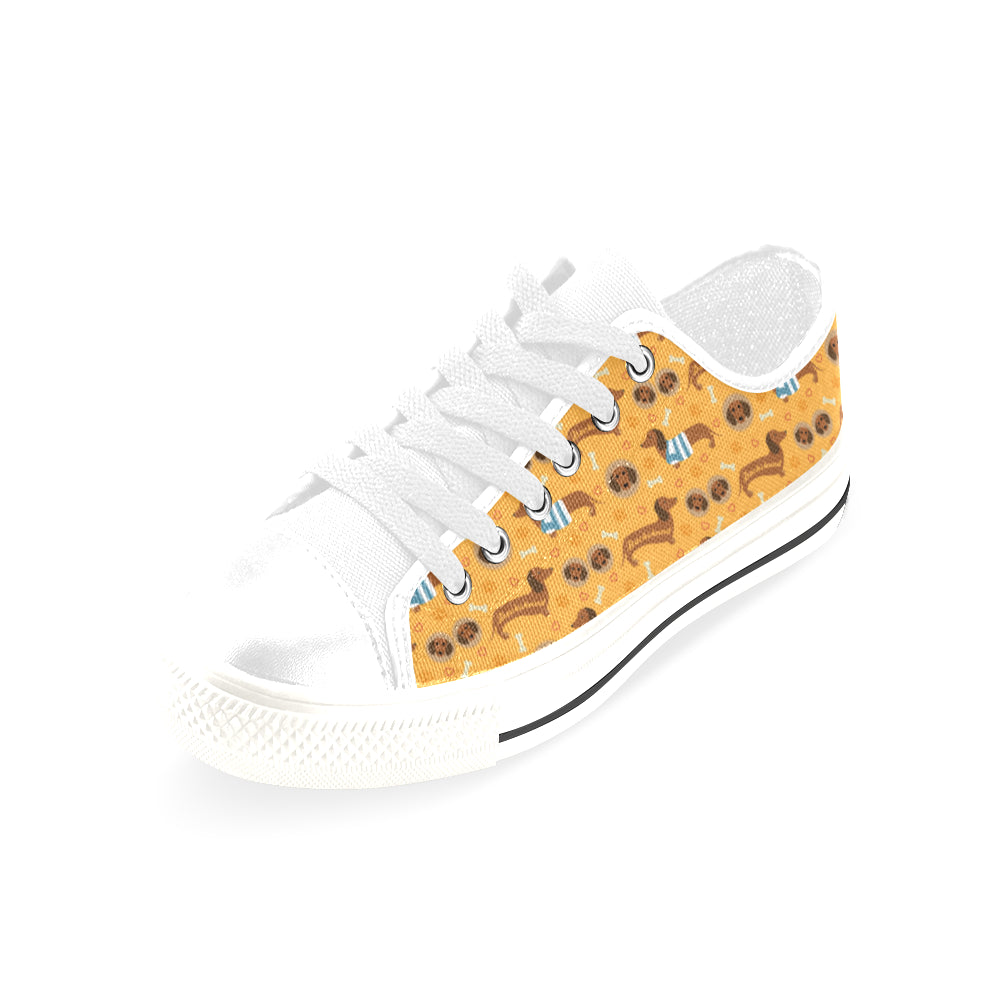 Dachshund Pattern White Men's Classic Canvas Shoes/Large Size - TeeAmazing