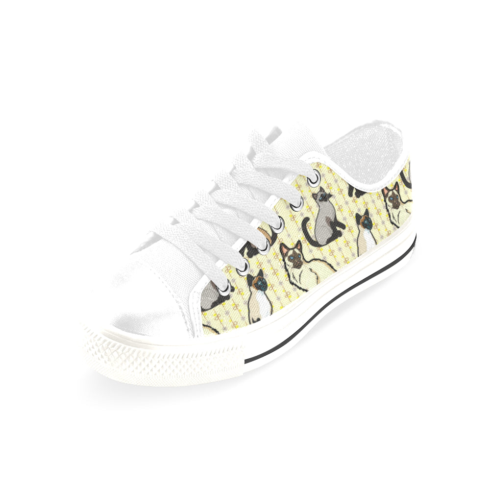 Siamese White Men's Classic Canvas Shoes/Large Size (Model 018) - TeeAmazing