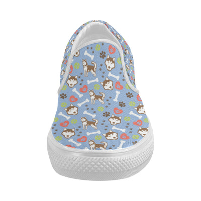 Alaskan Malamute Pattern White Women's Slip-on Canvas Shoes (Model 019) - TeeAmazing