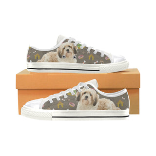 Cavachon Dog White Canvas Women's Shoes/Large Size (Model 018) - TeeAmazing