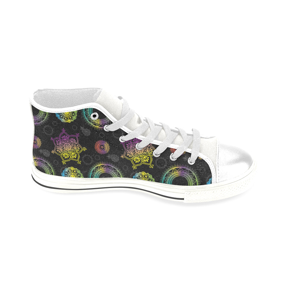 Chakra White Men's Classic High Top Canvas Shoes - TeeAmazing