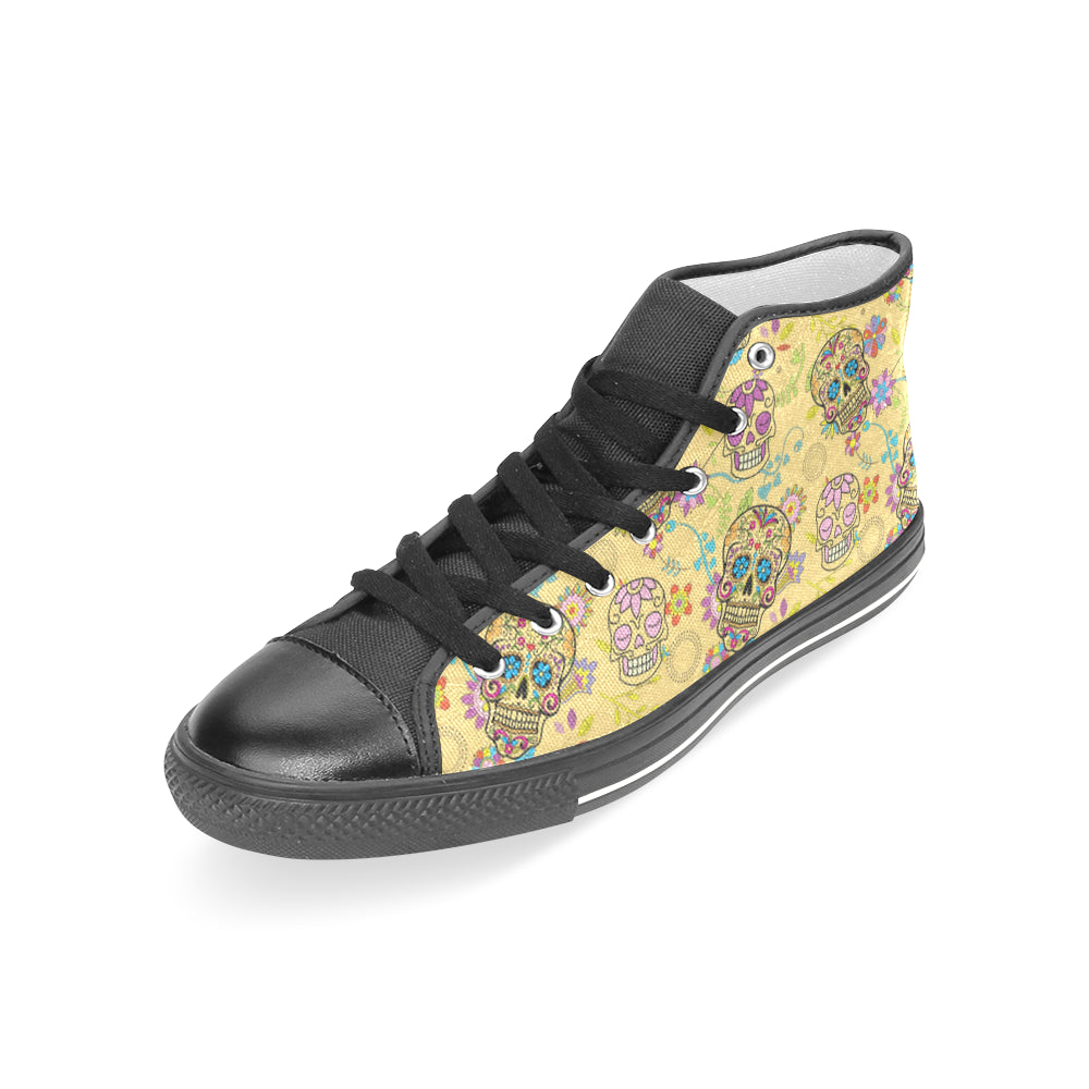 Sugar Skull Black Women's Classic High Top Canvas Shoes - TeeAmazing